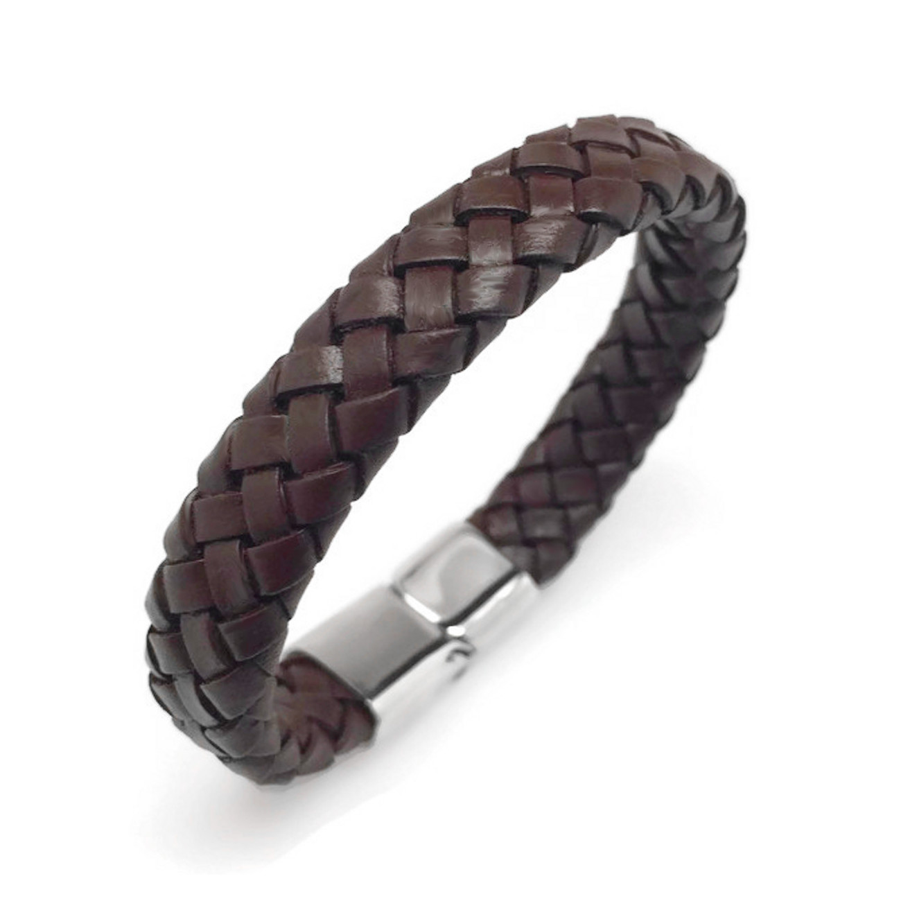 Dark Brown Wide Braided Leather Bracelet With 316l Stainless Steel Magnetic  Clasp