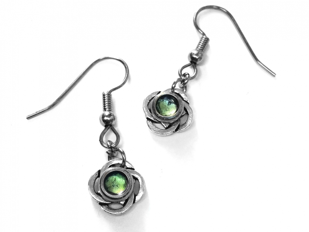 small green and silver celtic knot dangle earrings