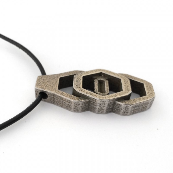 3d Printed Jewelry Steel and Bronze Cast Pendant Necklace