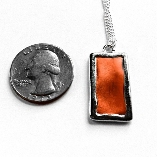 Silver Rectangle Pendant Size Reference