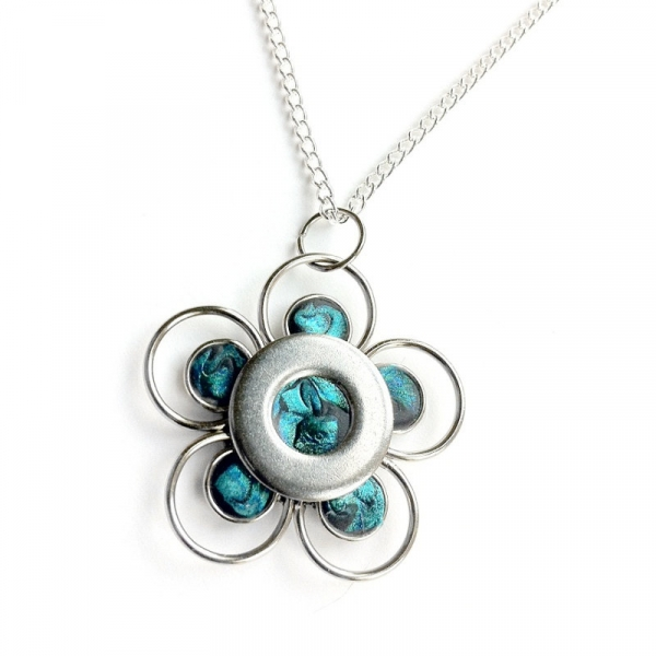 Artisan Silver and Teal Necklace