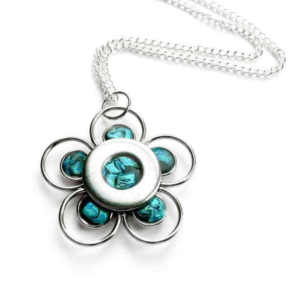 Teal Jewelry Silver Flower Necklace