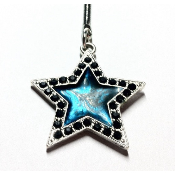 Rock Star Key Chain Silver Black and Teal