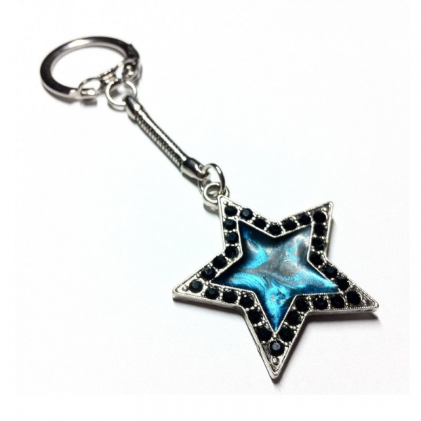 Silver and Black Rhinestone Star Key Chain