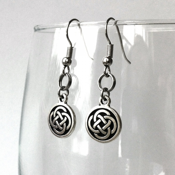 Handmade Artisan Silver Circle Dangle Earrings French Hook
