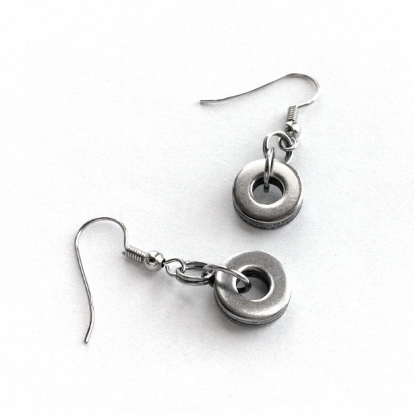 Modern Steel Washer Dangle Earrings