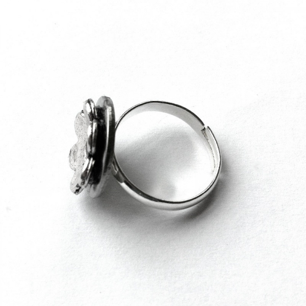 Silver Industrial Ring for Woman Flower