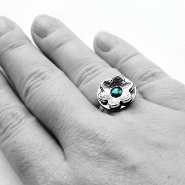 Teal Jewelry Silver Metal Flower Ring
