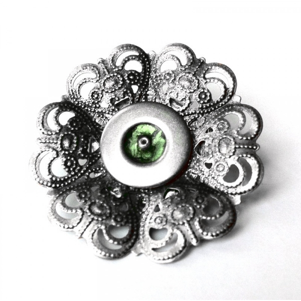 Silver and Green Accessory Pin