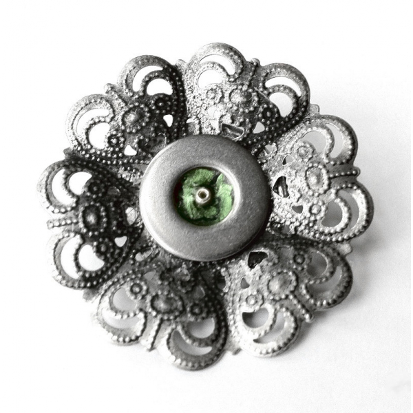 Silver Filigree Lapel Pin Cute Flower Brooch