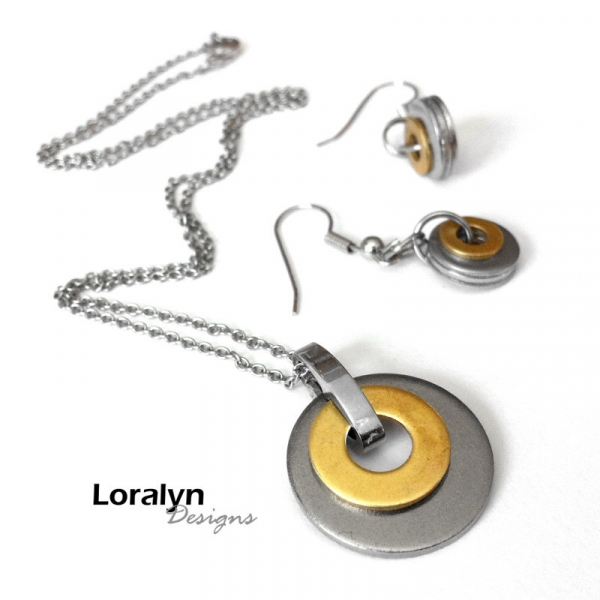 Stainless Steel Washer Earrings and Necklace
