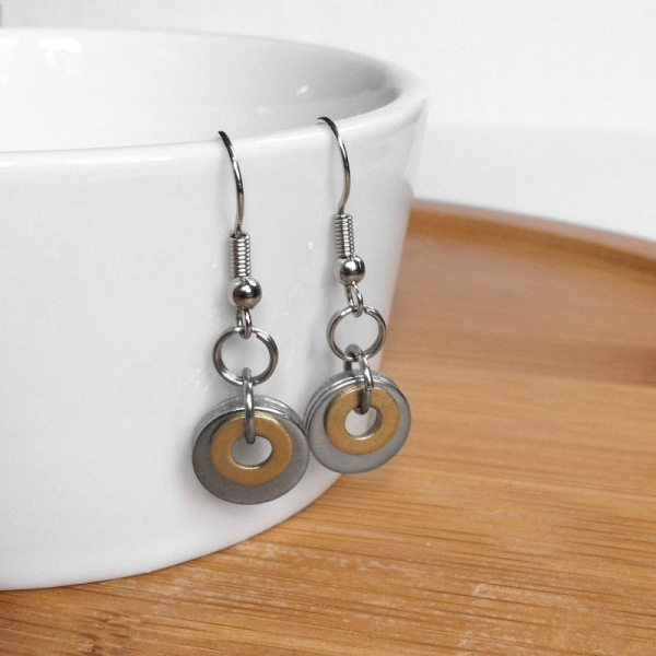 Brass and Stainless Steel Two Tone Round Dangly Earrings Women Handmade