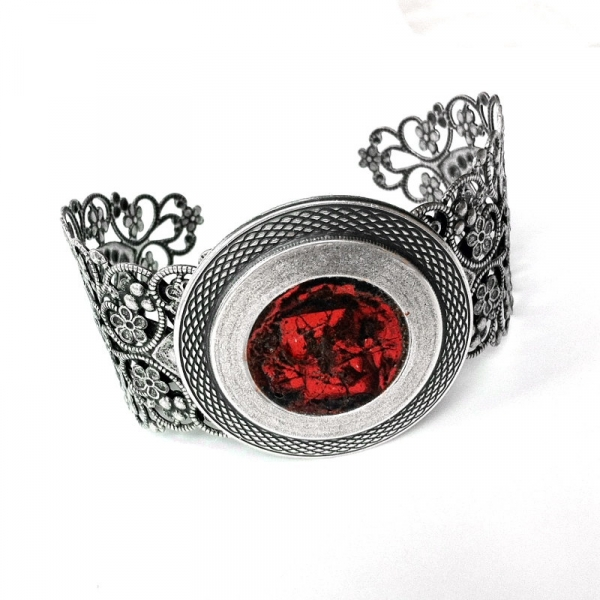 Silver and Orange Medieval Cuff Bracelet for Man