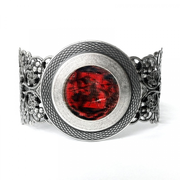 Orange Gothic Cuff Bracelet Silver Filigree