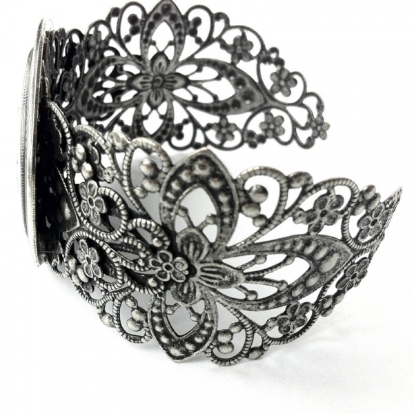 Ornate Antique Silver Filigree Cuff Bracelet