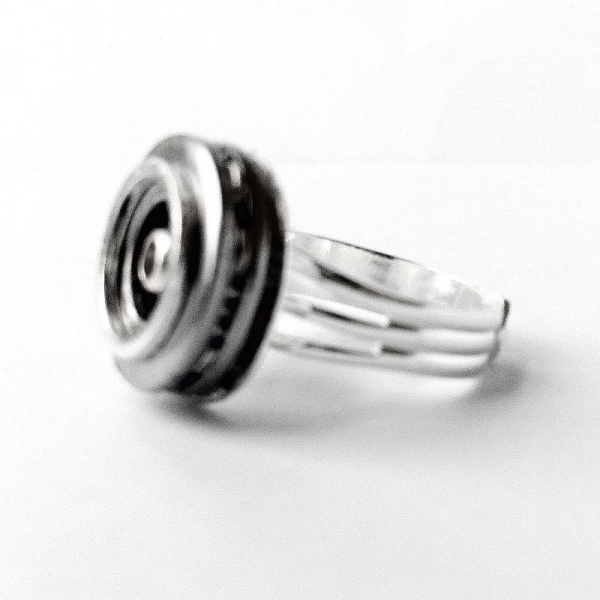Silver Mens Ring - Hubcap