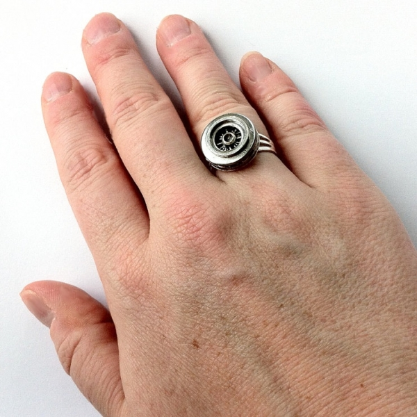 Silver Car Lover Jewelry - Hubcap Ring