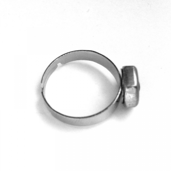 Hex Nut Stainless Steel Ring for Woman Side View