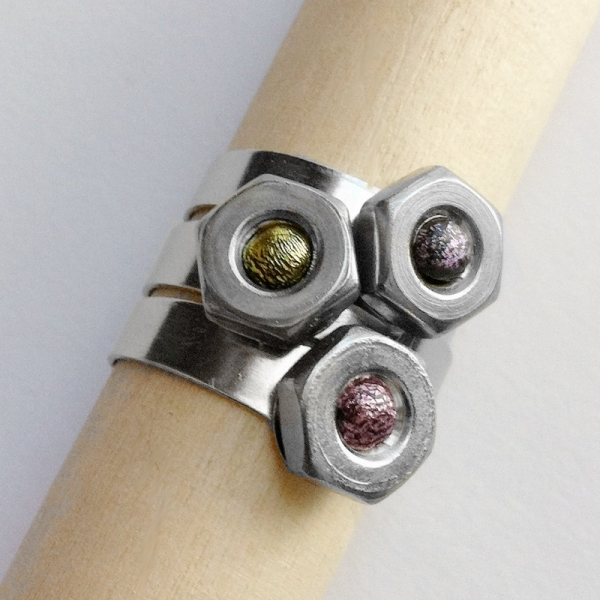 Hex Nut Stainless Steel Ring Shown Stacked