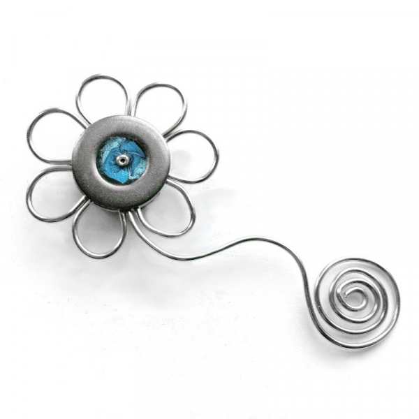 Unique Silver Flower Magnet