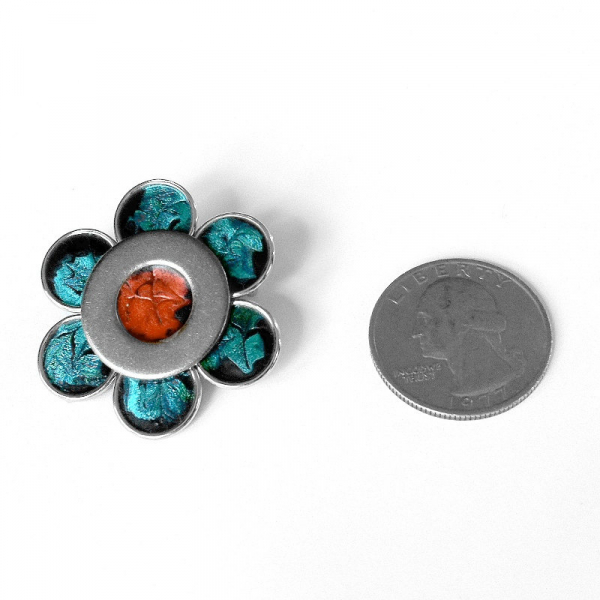 Retro Accessory Teal and Orange Brooch