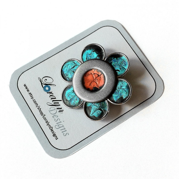 Geek Chic Industrial Teal and Orange Flower