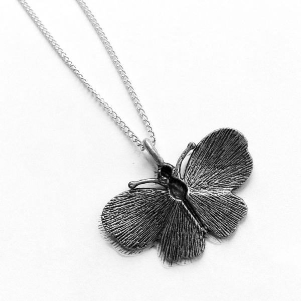 Unique Silver Necklace Butterfly Back