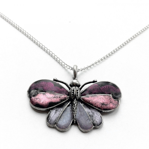 Silver Butterfly Necklace Customizable Color
