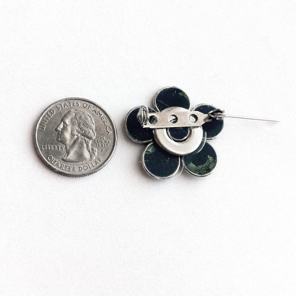 Silver Flower Lapel Pin Back Horizontal Bar Twist Lock