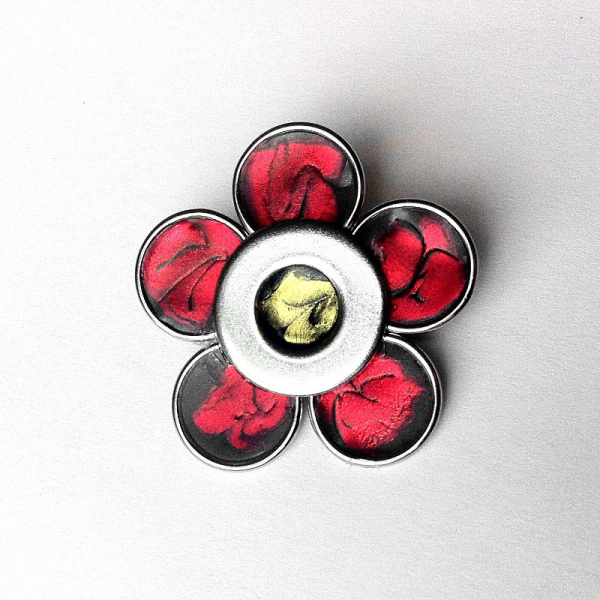 Silver Handmade Red Flower Pin Metal