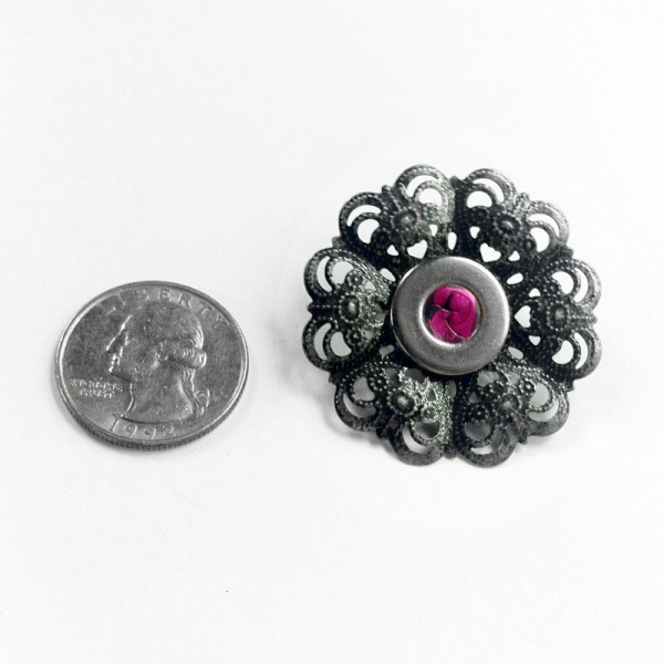 Victorian Silver Flower Lapel Pin Size Reference
