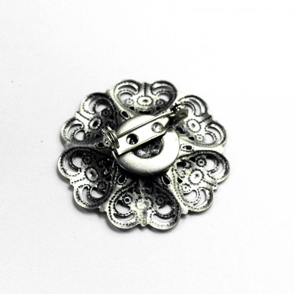 Silver Filigree Flower Lapel Pin Back