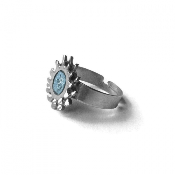 Womens Steampunk Gear Ring Silver Silver Jewelry
