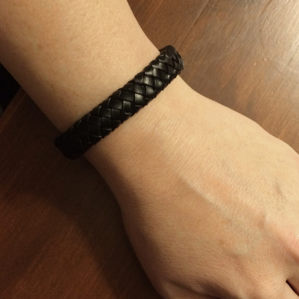Plain Black Leather Bracelet Gift Idea for Boyfriend Husband