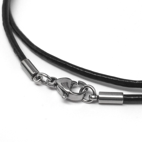 Black Leather Necklace Cord Stainless Steel Lobster Clasp