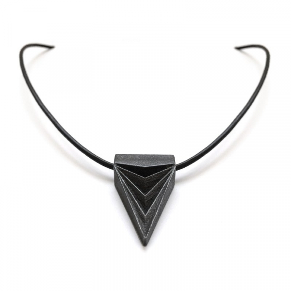 Black Steel Triangle Necklace Futuristic Tribal Pendant Artifact Jewelry