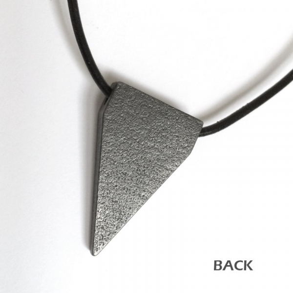 Dark Gray Silver Steel Triangle Textured Pendant Necklace Back