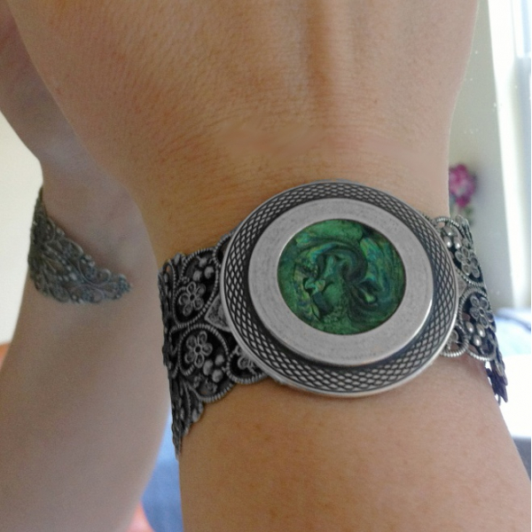 Green and Black Bracelet Cuff