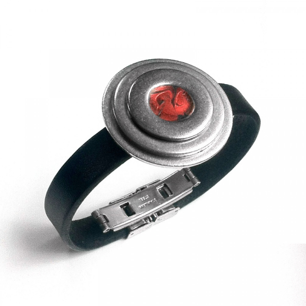 Modern Red and Silver Steel Bracelet