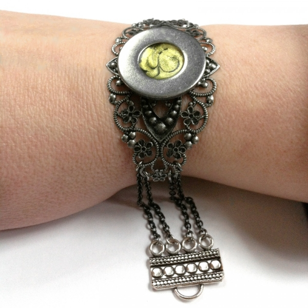 Silver and Yellow Gothic Bracelet