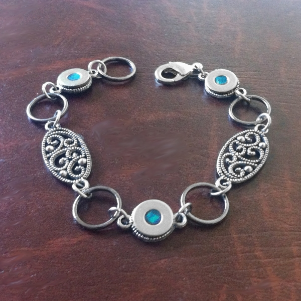 Modern Black and Silver Filigree Bracelet