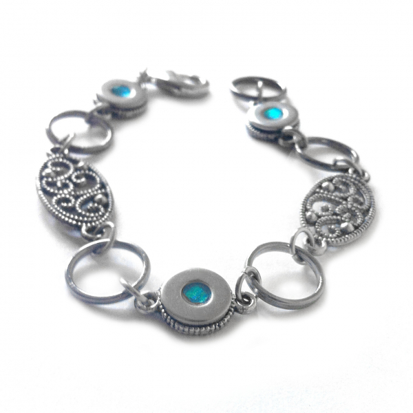 Teal Resin and Stainless Steel Bracelet Handmade Fashion Jewelry