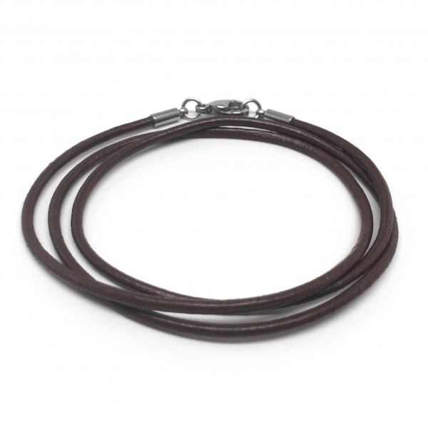 Thin long espresso brown leather necklace chain