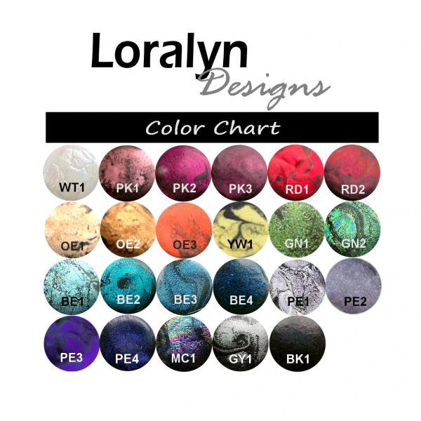 Custom Color Resin for Pendant Necklace Chart