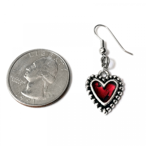 French Hook Earrings Shown in scale to US Quarter