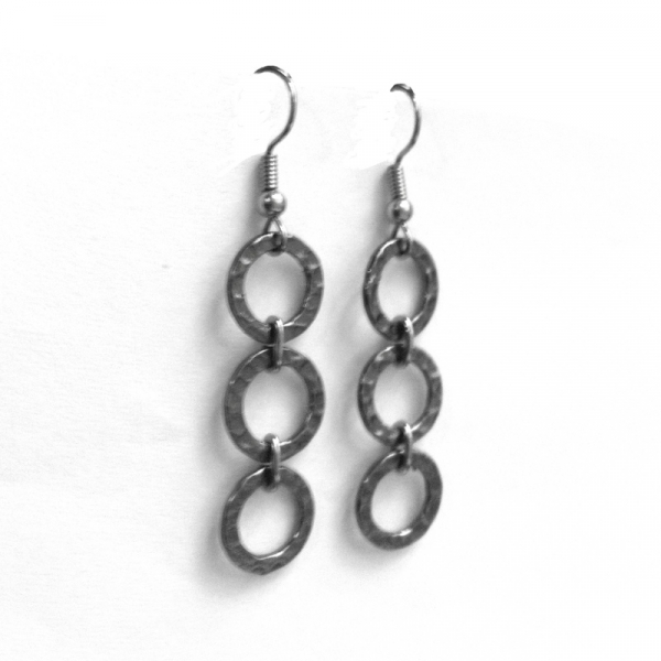 French Hook Chain Link Silver Dangle Earrings Round