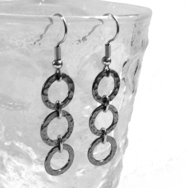 Silver 3 Circle Dangle Earrings Steel Non Tarnish