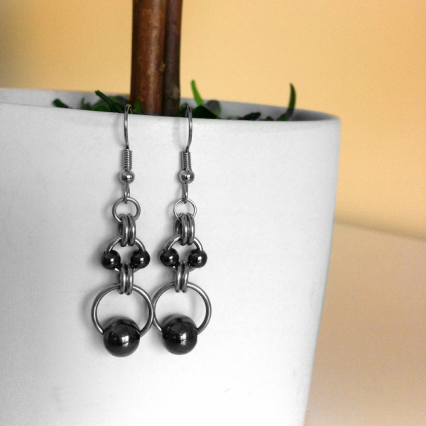 Modern Trendy Silver Steel and Black Earrings
