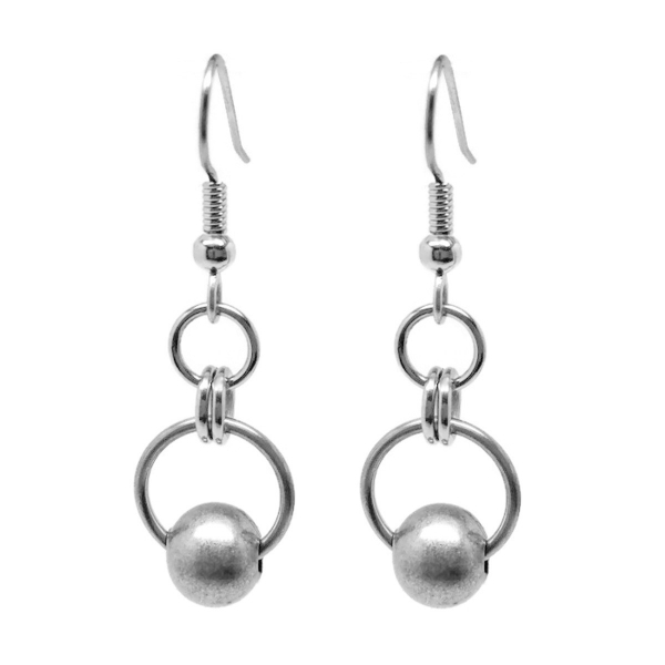 Simple Cool Silver Double Circle Dangle Earrings for Women 2020 French Hook