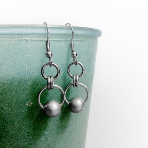 Modern Matte Grey Steel Earrings